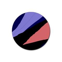 Purple and pink abstraction Rubber Coaster (Round)