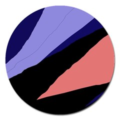 Purple and pink abstraction Magnet 5  (Round)