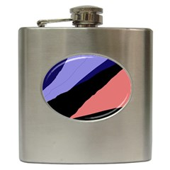 Purple and pink abstraction Hip Flask (6 oz)