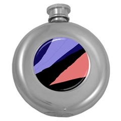 Purple and pink abstraction Round Hip Flask (5 oz)