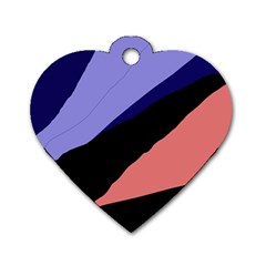 Purple and pink abstraction Dog Tag Heart (Two Sides)