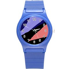 Purple and pink abstraction Round Plastic Sport Watch (S)