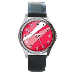 Pink abstraction Round Metal Watch