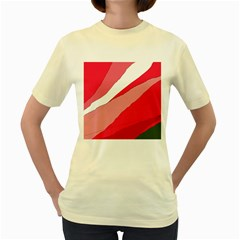 Pink abstraction Women s Yellow T-Shirt