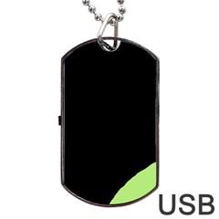 Green ball Dog Tag USB Flash (One Side)