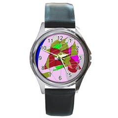Flora abstraction Round Metal Watch
