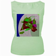 Flora abstraction Women s Green Tank Top