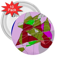 Flora abstraction 3  Buttons (10 pack)