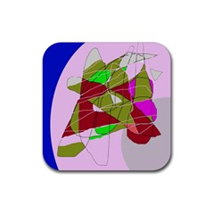 Flora abstraction Rubber Coaster (Square)