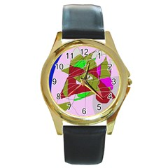 Flora abstraction Round Gold Metal Watch