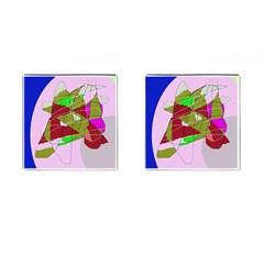 Flora abstraction Cufflinks (Square)