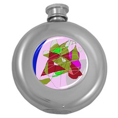 Flora abstraction Round Hip Flask (5 oz)