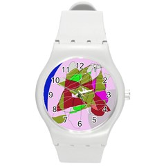Flora abstraction Round Plastic Sport Watch (M)