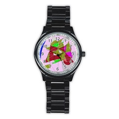 Flora abstraction Stainless Steel Round Watch