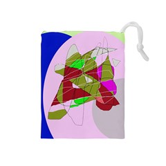 Flora abstraction Drawstring Pouches (Medium)