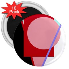 Decorative geomeric abstraction 3  Magnets (10 pack)