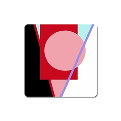 Decorative geomeric abstraction Square Magnet