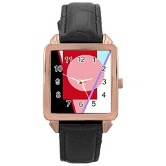 Decorative geomeric abstraction Rose Gold Leather Watch