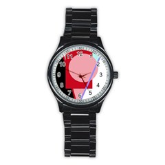 Decorative geomeric abstraction Stainless Steel Round Watch