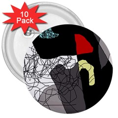 Decorative abstraction 3  Buttons (10 pack)