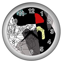 Decorative abstraction Wall Clocks (Silver)