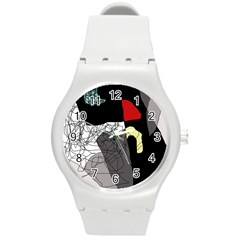 Decorative abstraction Round Plastic Sport Watch (M)