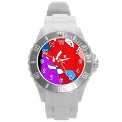Colorful abstraction Round Plastic Sport Watch (L)