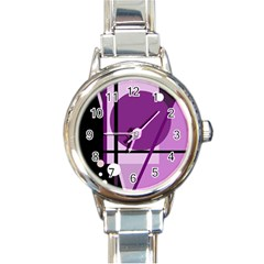 Purple geometrical abstraction Round Italian Charm Watch
