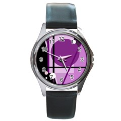Purple geometrical abstraction Round Metal Watch