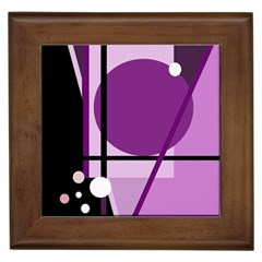 Purple geometrical abstraction Framed Tiles