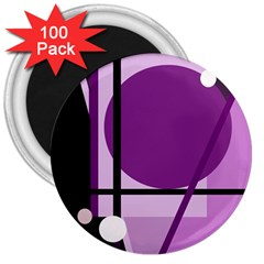 Purple geometrical abstraction 3  Magnets (100 pack)