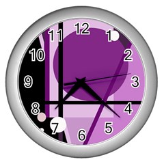 Purple geometrical abstraction Wall Clocks (Silver)