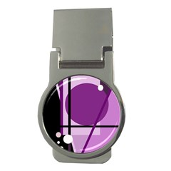 Purple geometrical abstraction Money Clips (Round)