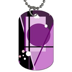 Purple geometrical abstraction Dog Tag (Two Sides)