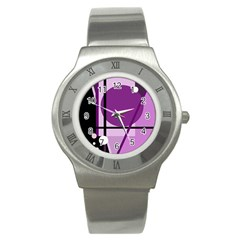 Purple geometrical abstraction Stainless Steel Watch