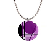 Purple geometrical abstraction Button Necklaces