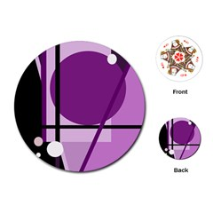 Purple geometrical abstraction Playing Cards (Round)