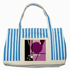 Purple geometrical abstraction Striped Blue Tote Bag