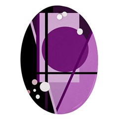 Purple geometrical abstraction Oval Ornament (Two Sides)