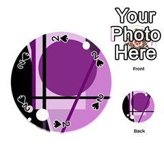 Purple geometrical abstraction Playing Cards 54 (Round)