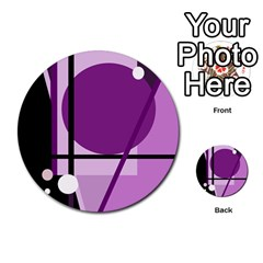 Purple geometrical abstraction Multi-purpose Cards (Round)