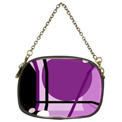 Purple geometrical abstraction Chain Purses (One Side)
