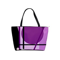Purple geometrical abstraction Shoulder Handbags