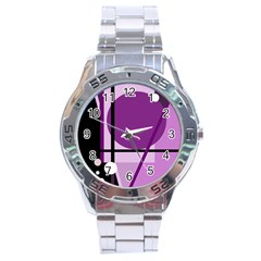 Purple geometrical abstraction Stainless Steel Analogue Watch