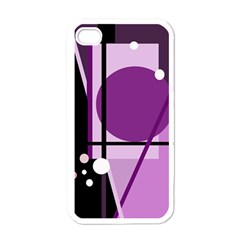 Purple geometrical abstraction Apple iPhone 4 Case (White)