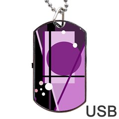 Purple geometrical abstraction Dog Tag USB Flash (One Side)