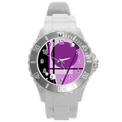 Purple geometrical abstraction Round Plastic Sport Watch (L)