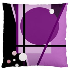 Purple geometrical abstraction Large Cushion Case (Two Sides)