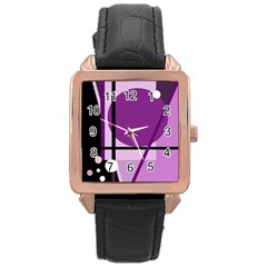 Purple geometrical abstraction Rose Gold Leather Watch