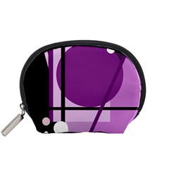 Purple geometrical abstraction Accessory Pouches (Small)